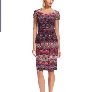 David Meister floral art deco belted sheath dress